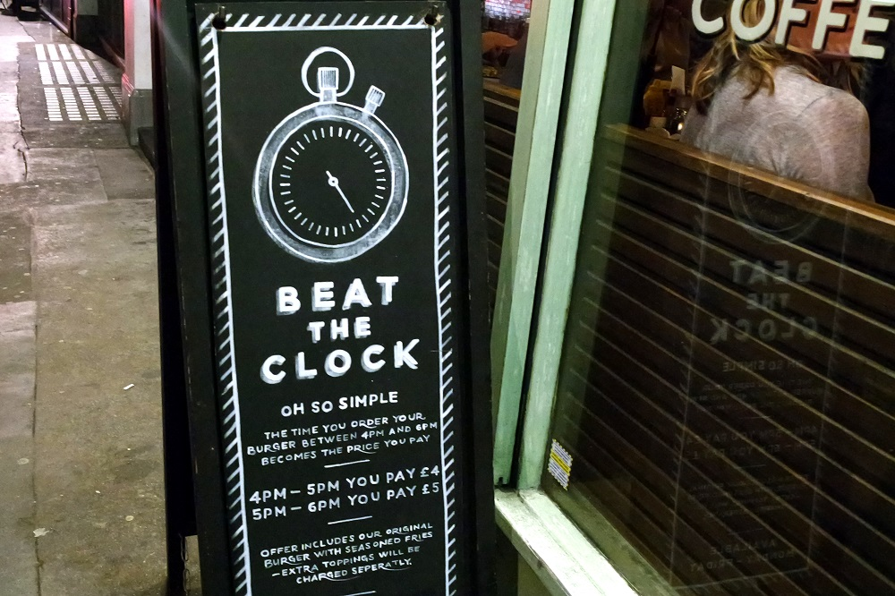 Grillshack Soho Beat The Clock cheap burgers in London