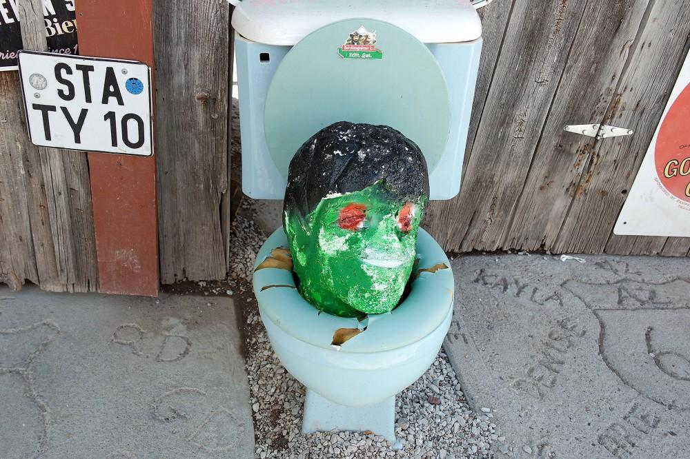 Route 66 Delgadillos Snow Cap head in toilet