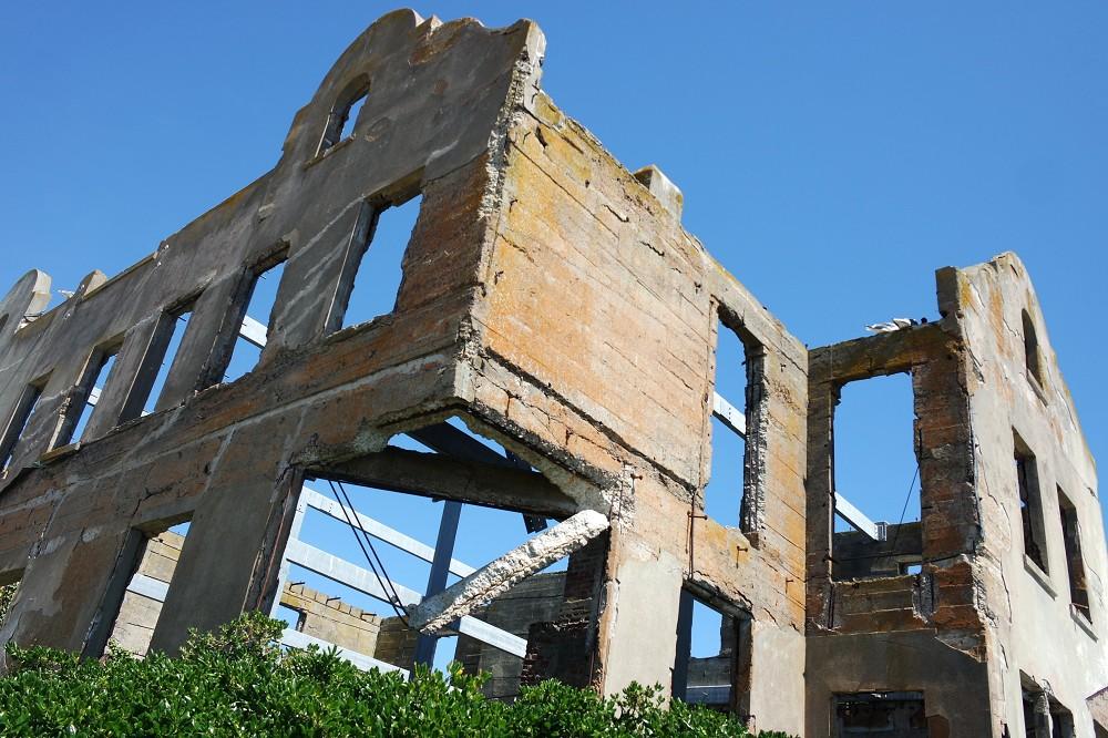 Alcatraz Tour outside Burnt out Wardens House