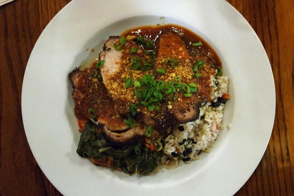 A tasty pork and rice dish at Yosemite Bug Lodge