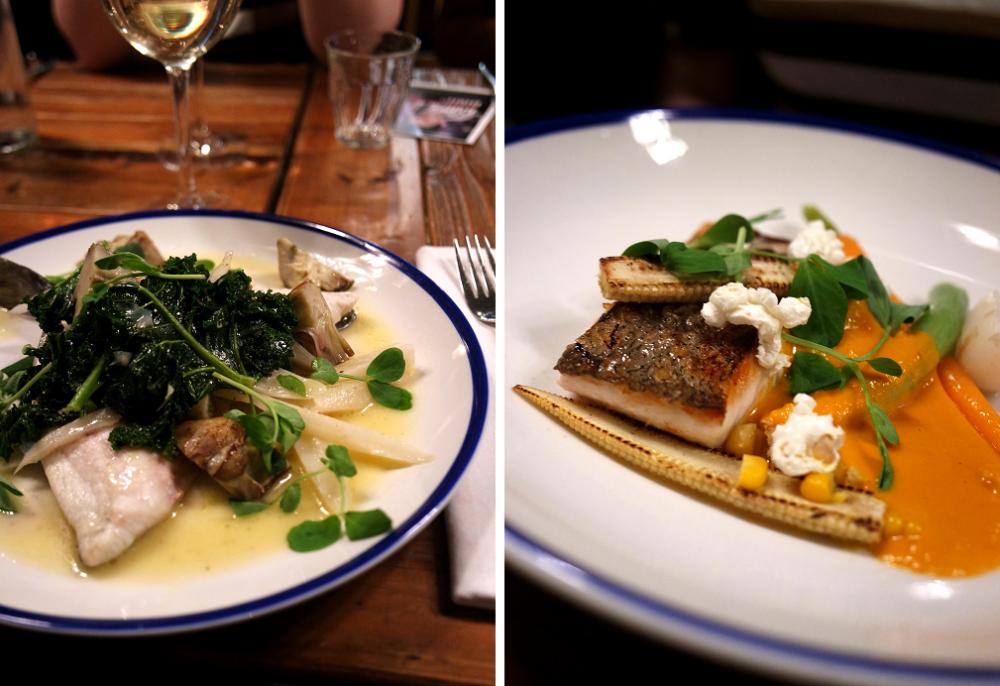 Main courses at Sail Loft pub restaurant, Greenwich, London