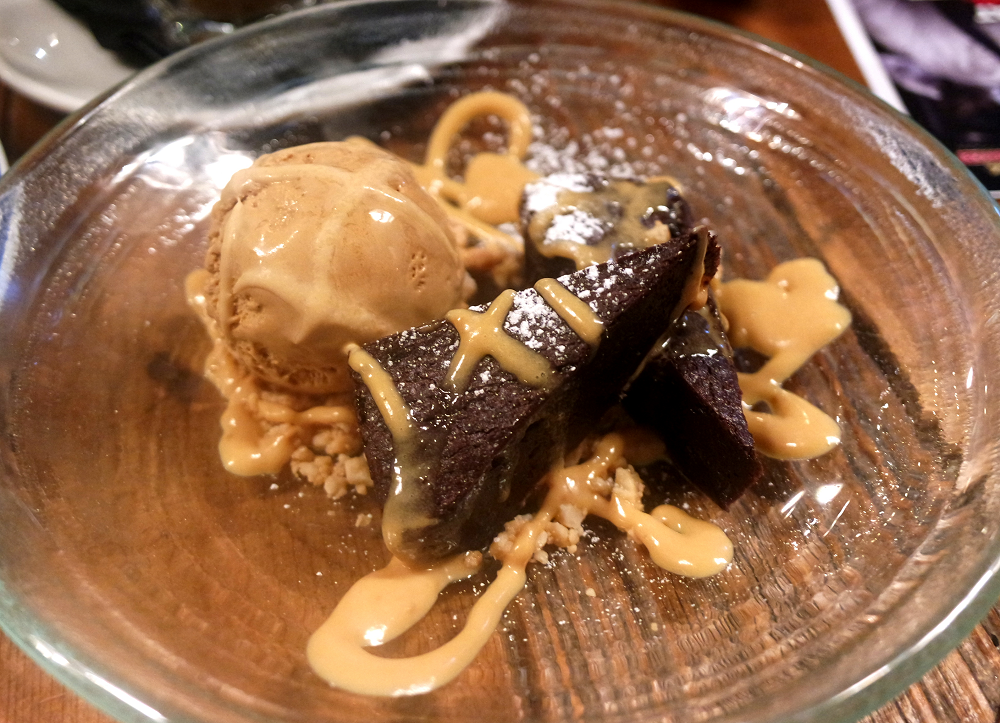 Chocolate brownie and salted caramel ice cream at Sail Loft pub restaurant, Greenwich, London