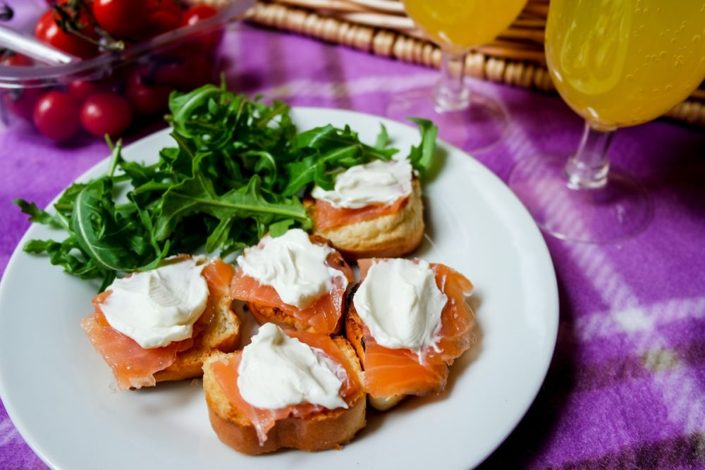 Smoked salmon and cream cheese canapes with brioche bread