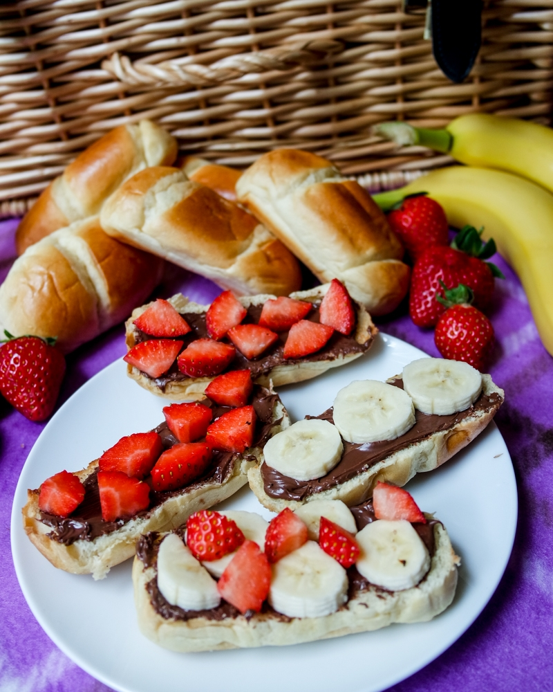 Strawberries, Banana and Nutella on Brioche Toast