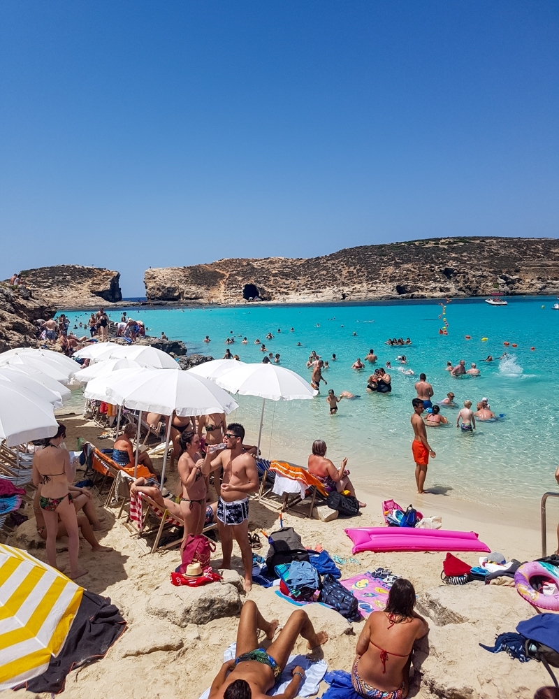 Holidaymakers at the Blue Lagoon in Malta