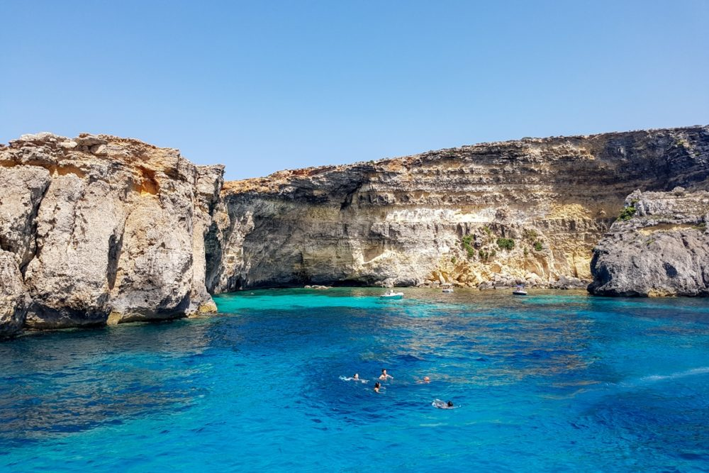 Swimming and snorkelling in the Crystal Lagoon, Malta
