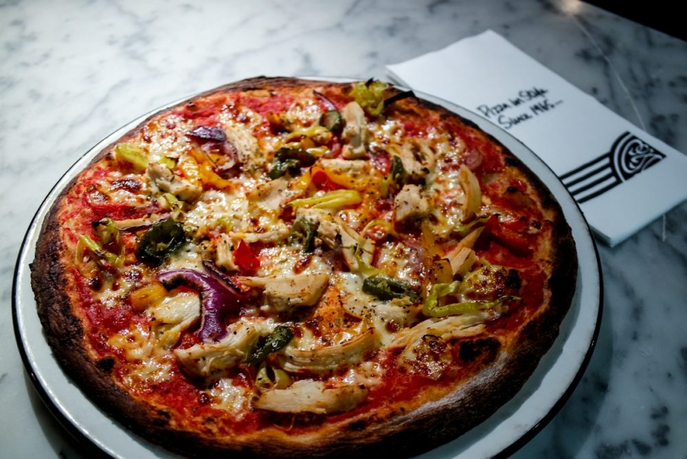 Spicy chicken pizza at Pizza Express