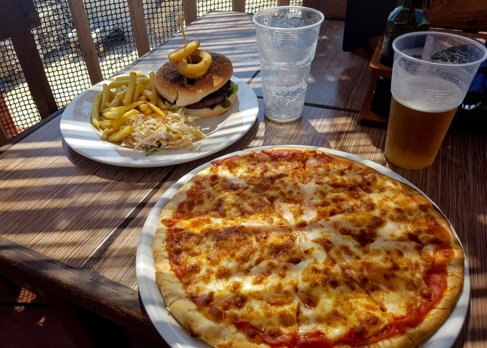 Burger and pizza at Popeye Village