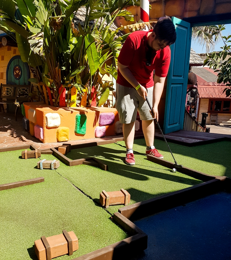 Christmas themed mini golf course at Popeye Village, Malta