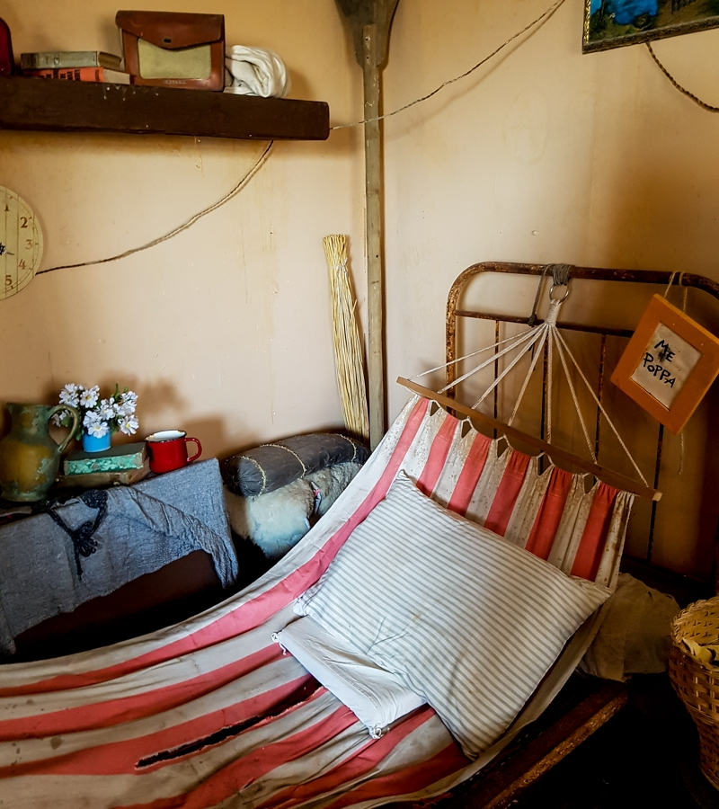 Hammock bed in Olive Oyl's house at Popeye Village, Malta