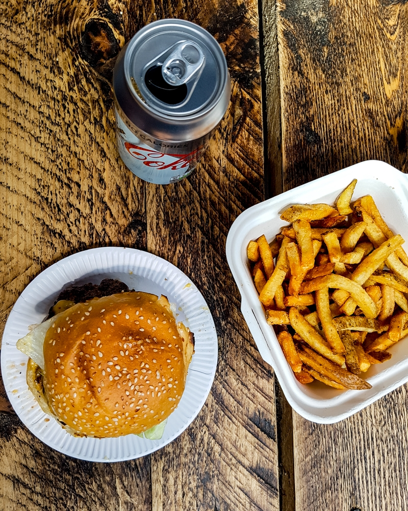Burger and fries at Bleecker Burger, London South Bank