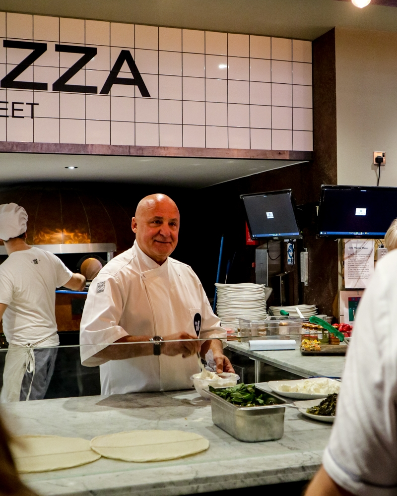 Aldo Zilli at Firezza - pizza by the metre at the Dean Street restaurant, Soho