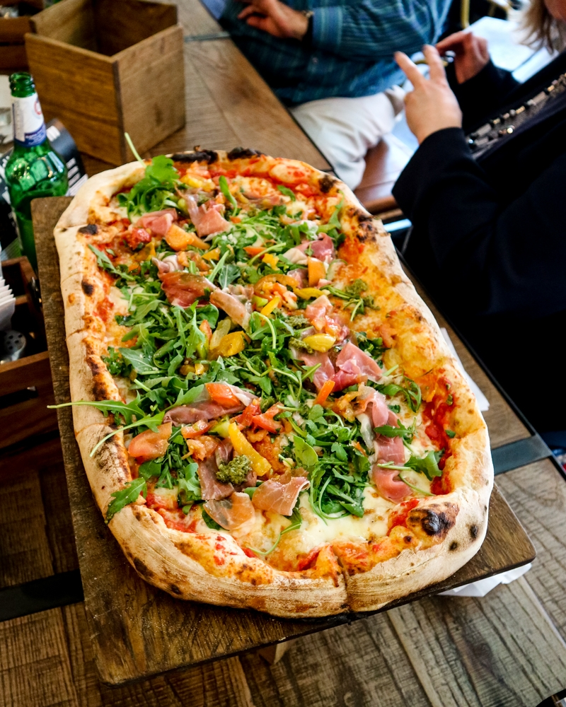 Firezza - pizza by the metre at the Dean Street restaurant, Soho