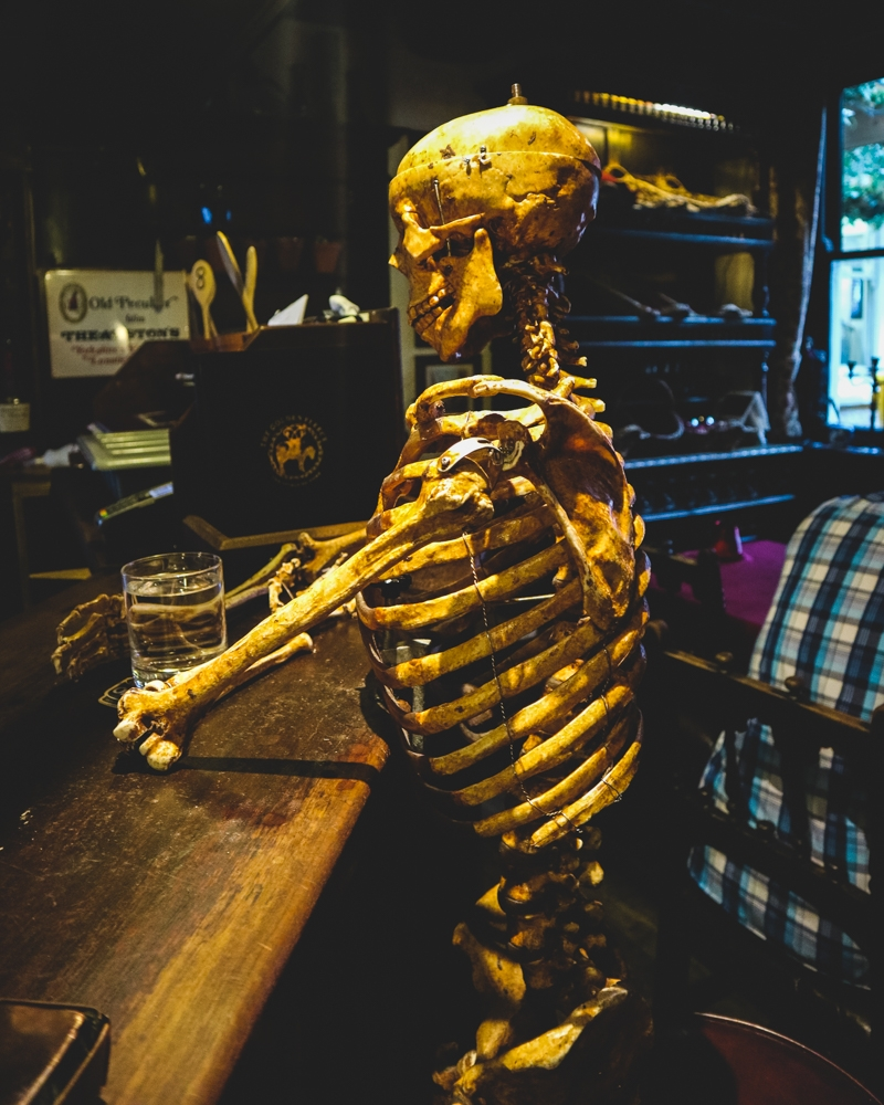 Skeleton at the bar in the Golden Fleece pub, York