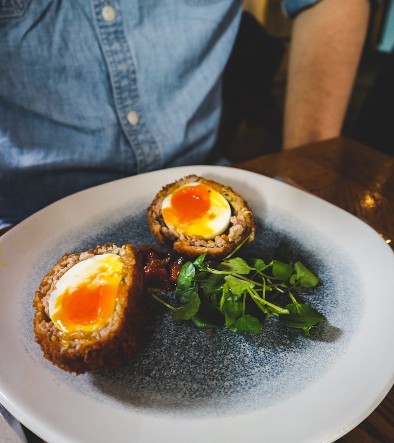 Scotch eggs on a plate