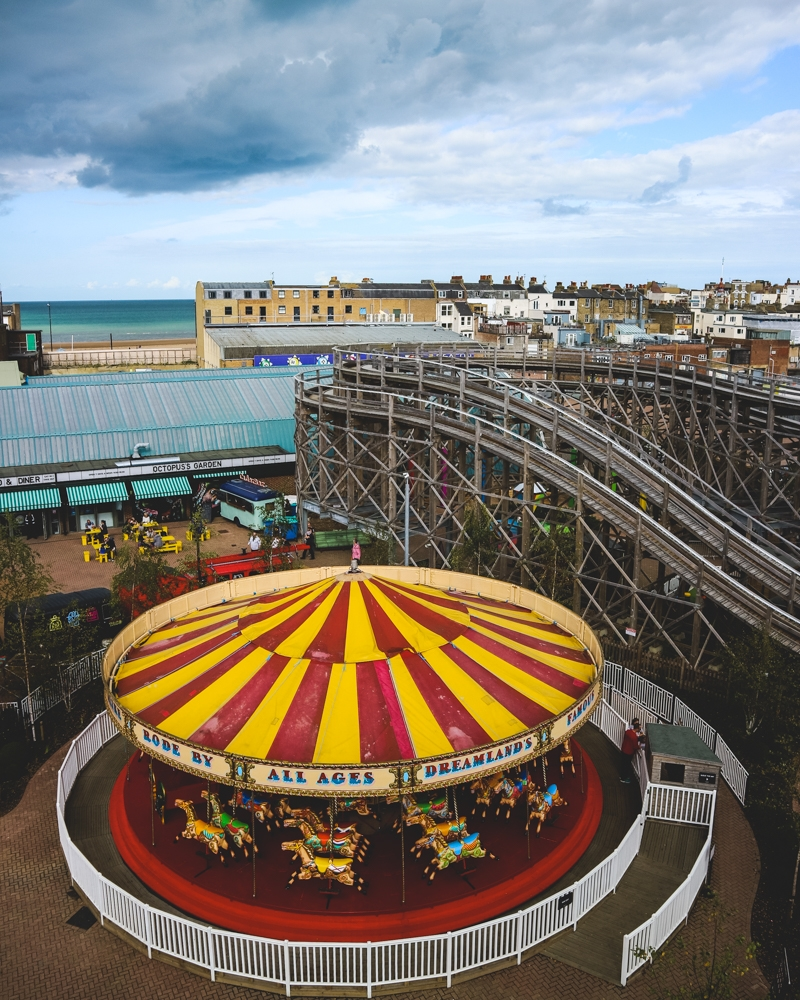 Ferris wheel view at Dreamland park, Margate, Kent