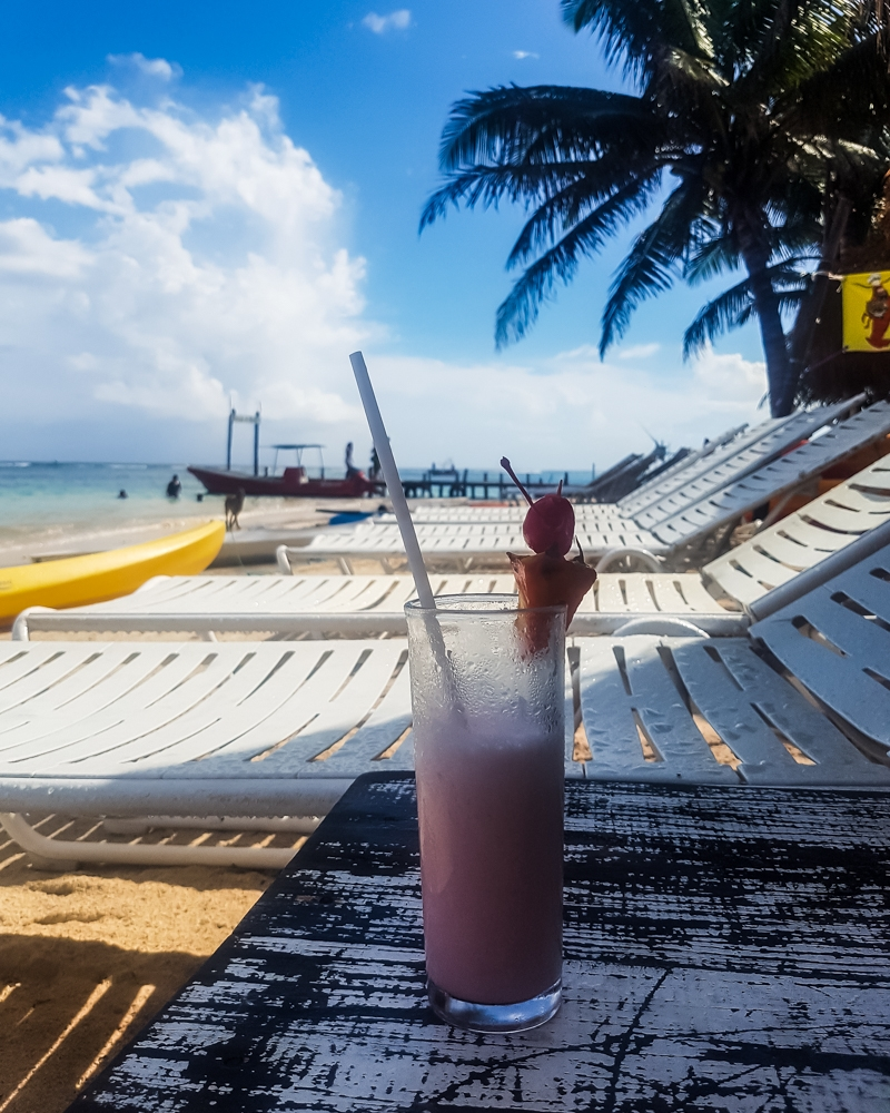 Bahama Mama Cocktail at at Majahaul Beach, Mexico