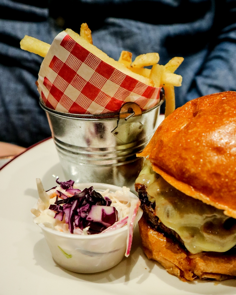 Fries and slaw at Bill Wyman's Sticky Fingers restaurant, Kensington, London