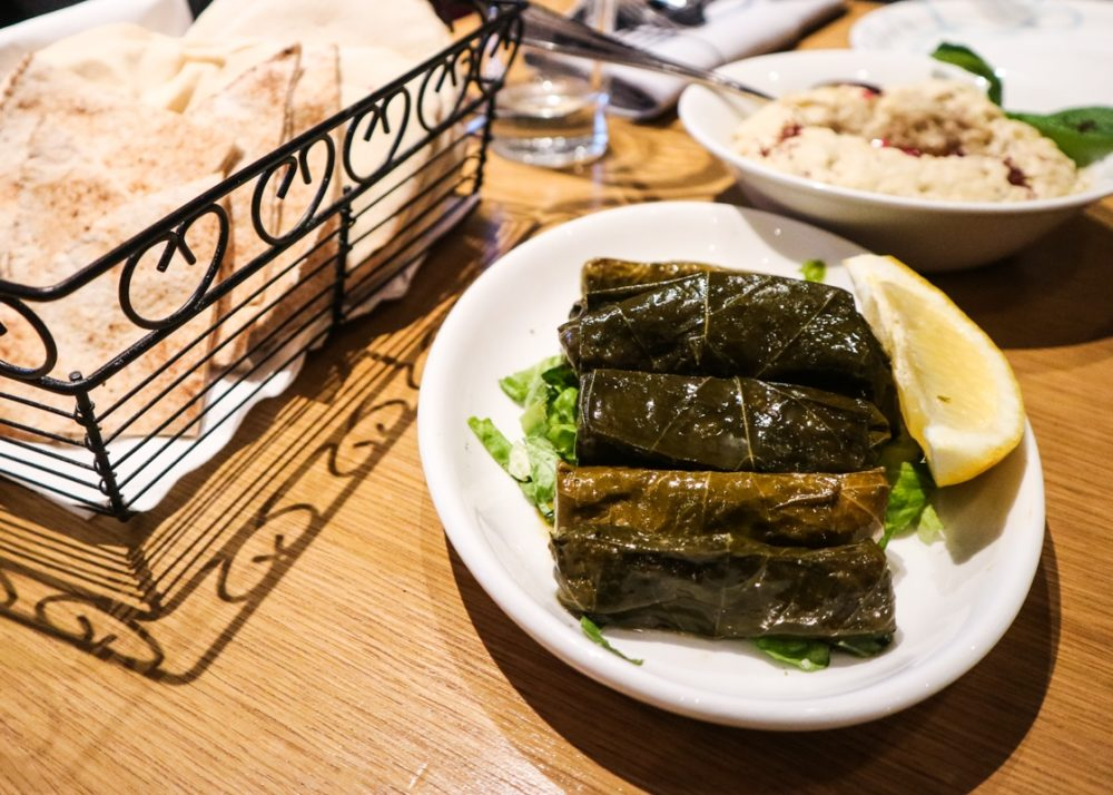 Stuffed vine leaves at Abd El Wahab Lebanese restaurant, London