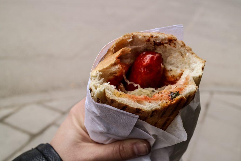 Sausage roll at Östermalms Korvspecialist in Stockholm, Sweden | Cheap places to eat in Stockholm