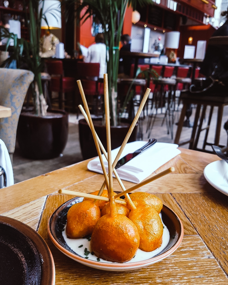 Chorizo Lollipops at Ibérica Spanish tapas restaurant Manchester