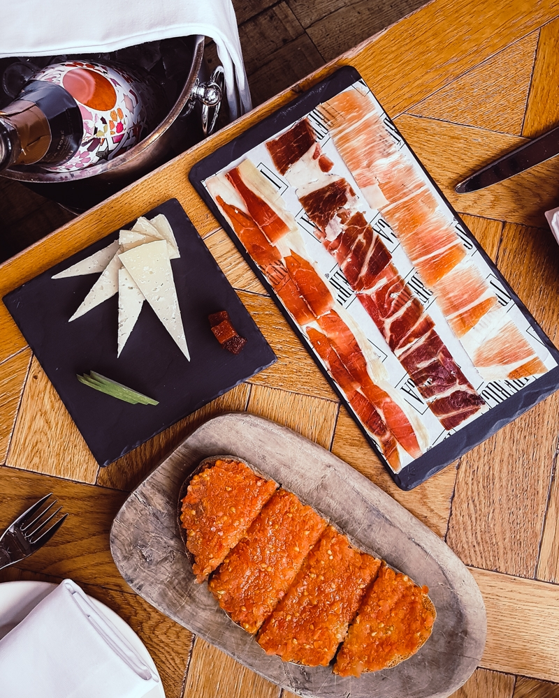 Jamon tasting platter and tomato bread at Ibérica Spanish tapas restaurant Manchester