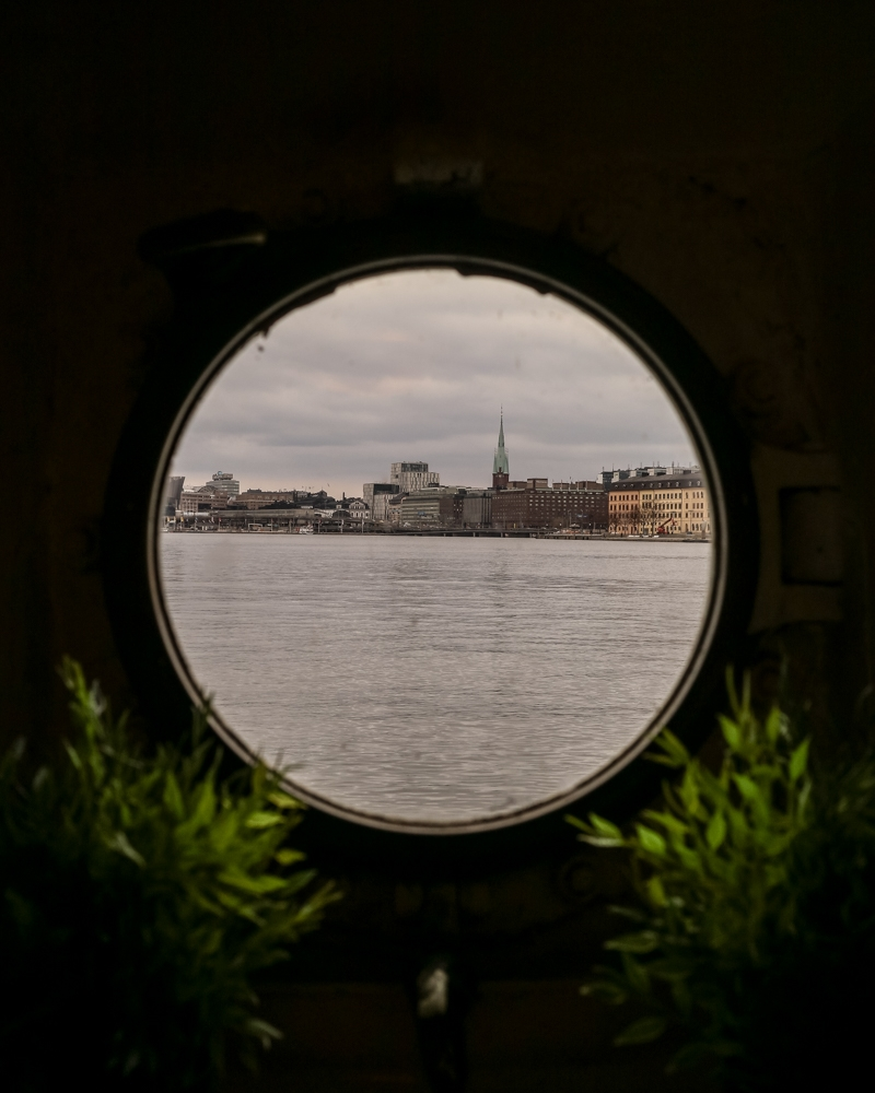 View through bedroom window on Red Boat Hotel Hostel in Stockholm, Sweden