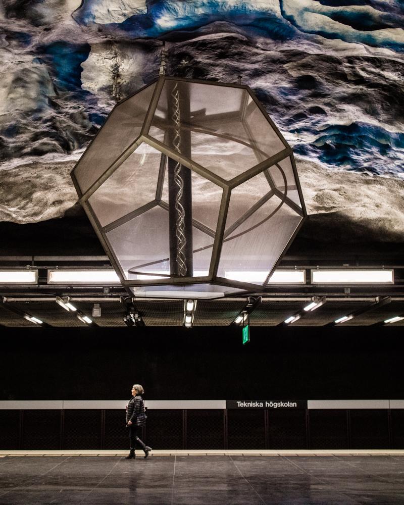 Art installation at Tekniska Hogskolan Metro station Stockholm