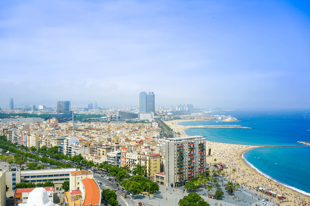 Barcelona Aerial shot of beach | Where to go on a girls' holiday in Europe