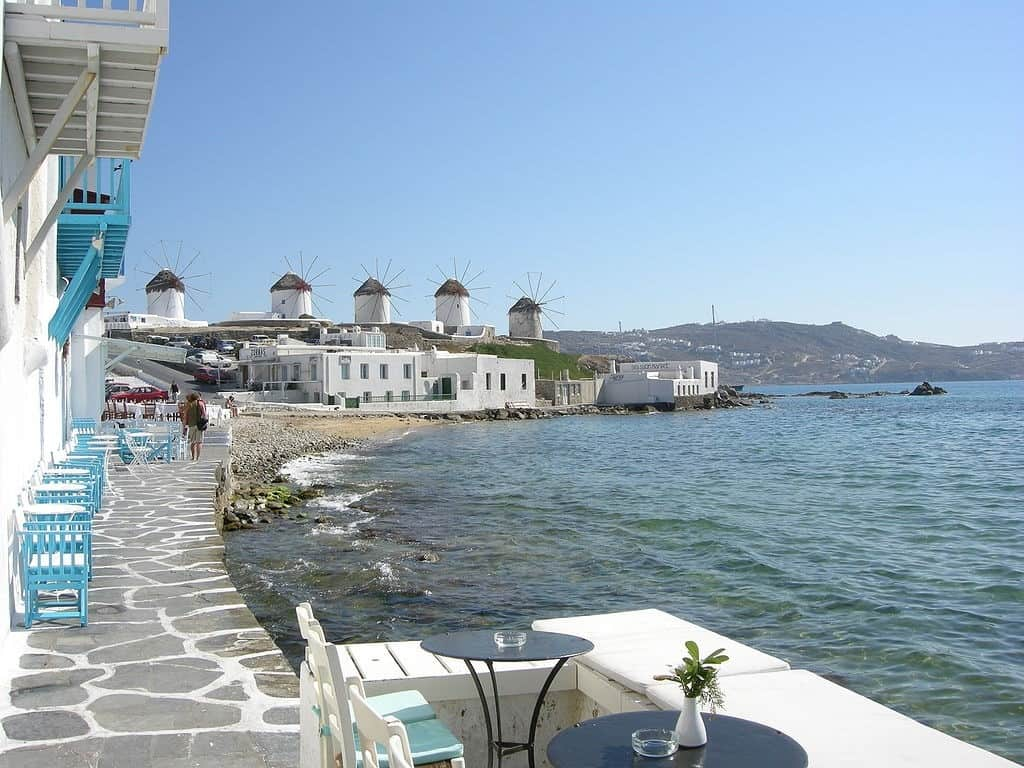 Mykonos Shoreline and Buildings | Where To Go For A Girls Holiday in Europe