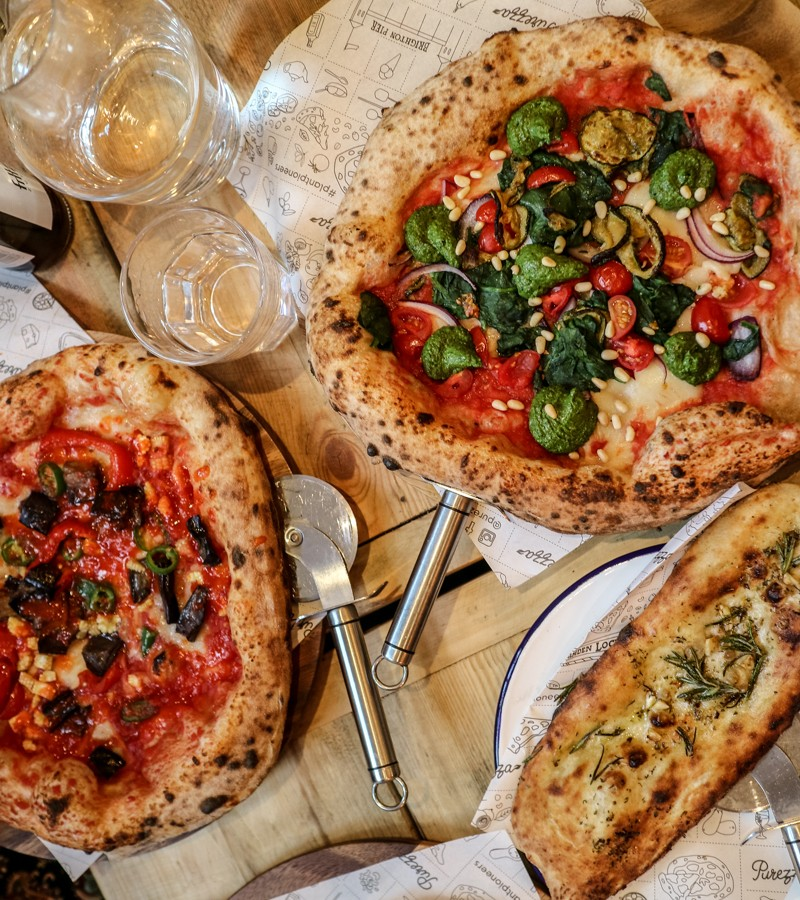 Flat lay of two pizzas at Purezza Vegan Pizza in London