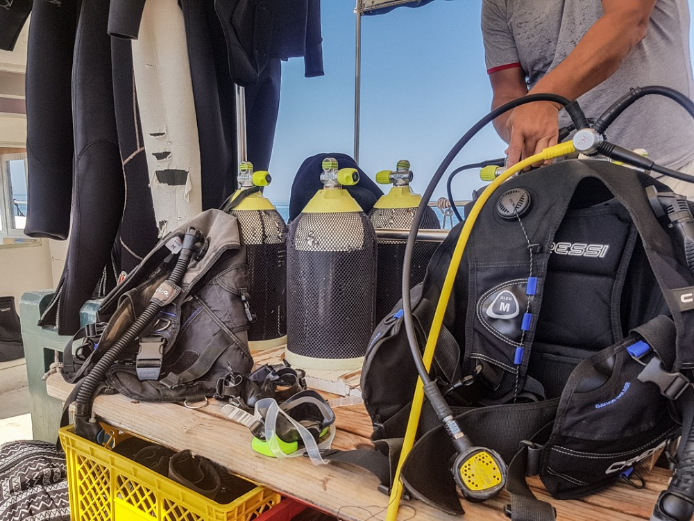 Scuba equipment on board a boat