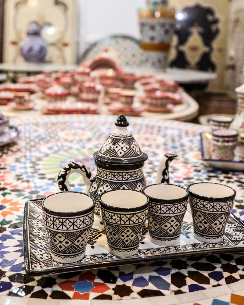 Mosaic tea set in Mosaique Et Poterie De Fes | Places to visit in Fez