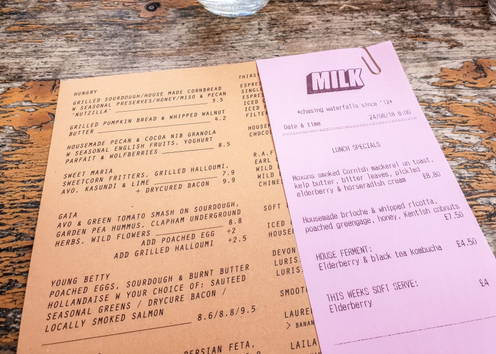 Milk Cafe menu | Brunch in Balham, London