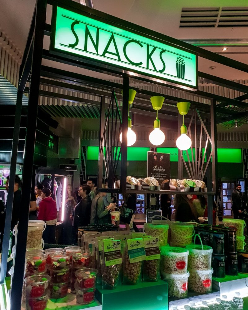 Snack stall at Apollo Victoria theatre, London