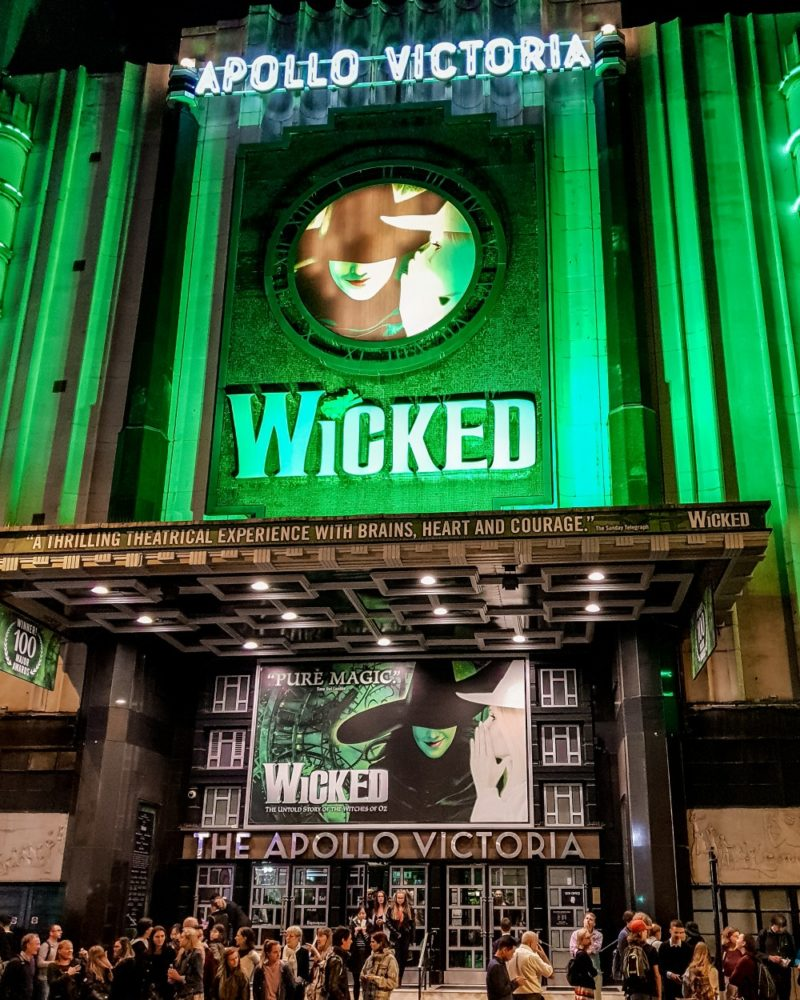 Outside Wicked musical at Apollo Victoria theatre, London