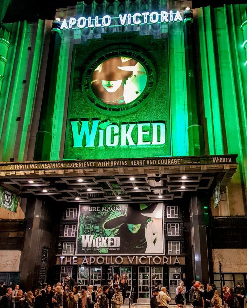 Outside Wicked musical at Apollo Victoria theatre, London