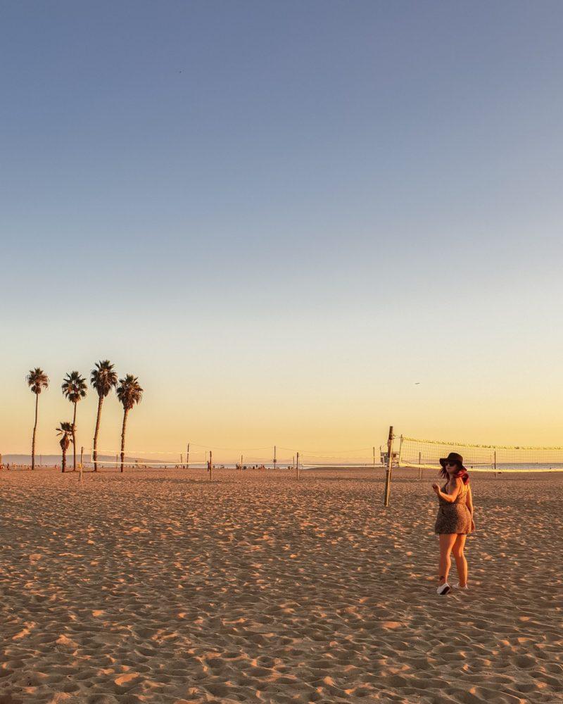 Girl on Venice Beach at sunset