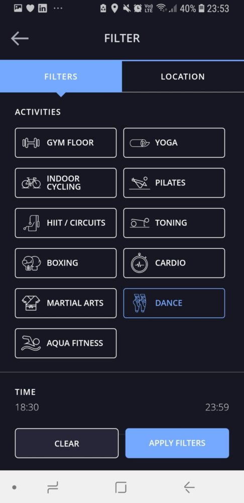 Screenshot of Esquared Pay-As-You Go Fitness App, London