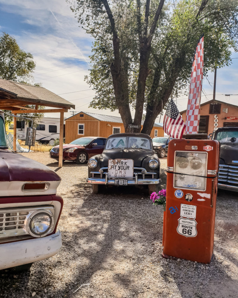 Retro cars and petrol pump in Seligman, Arizona