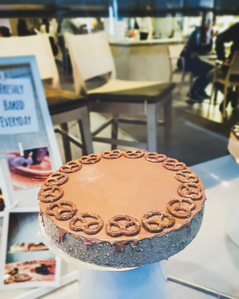 Chocolate pretzel cheesecake in window