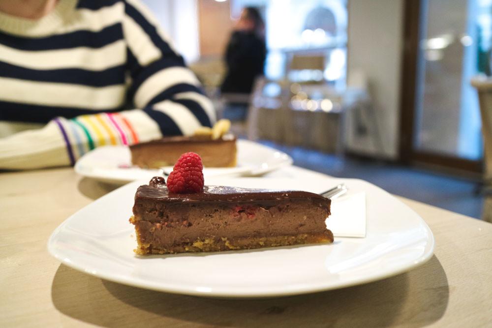 Chocolate and Raspberry cheesecake at Pollito, Bratislava