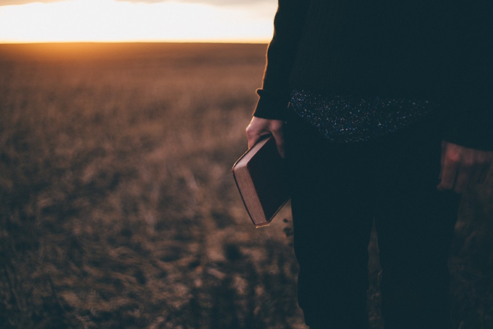 Woman holding book in field at sunset