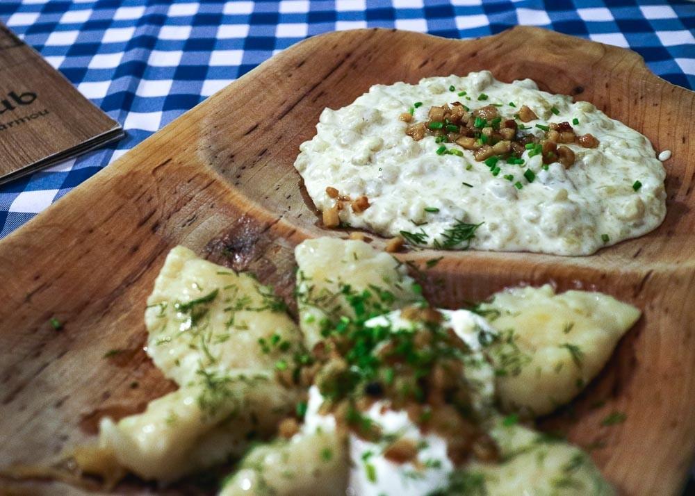 Sharing platter of Slovak dumplings