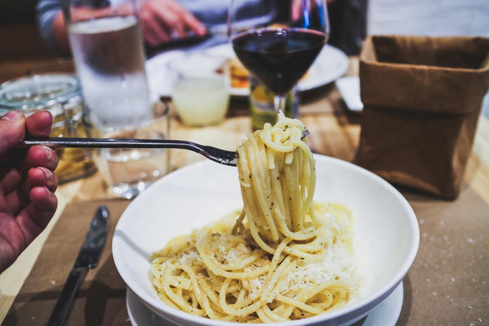 Cacio e Pepe spaghetti dish at Eataly, Flatiron, New York