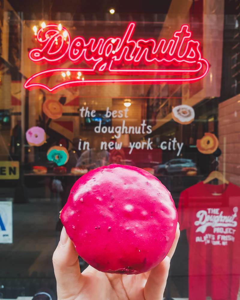 Peanut butter and jelly doughnut in New York in front of shop window