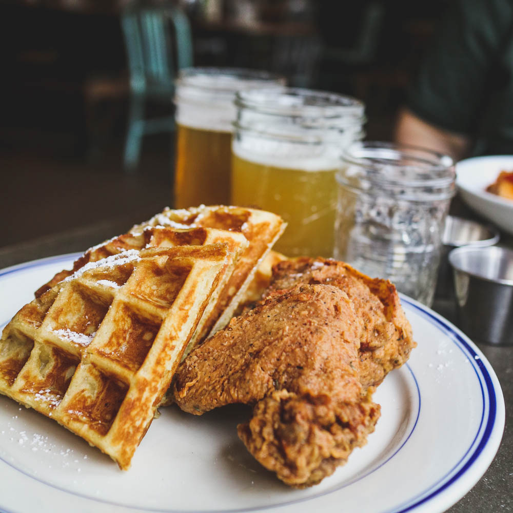 Plate of chicken and waffles