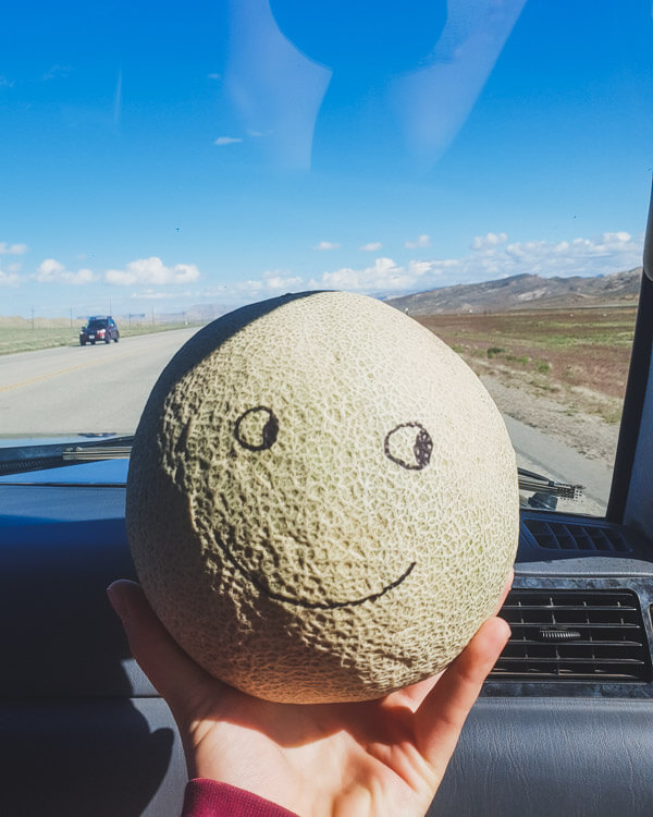 Melon with a face drawn on