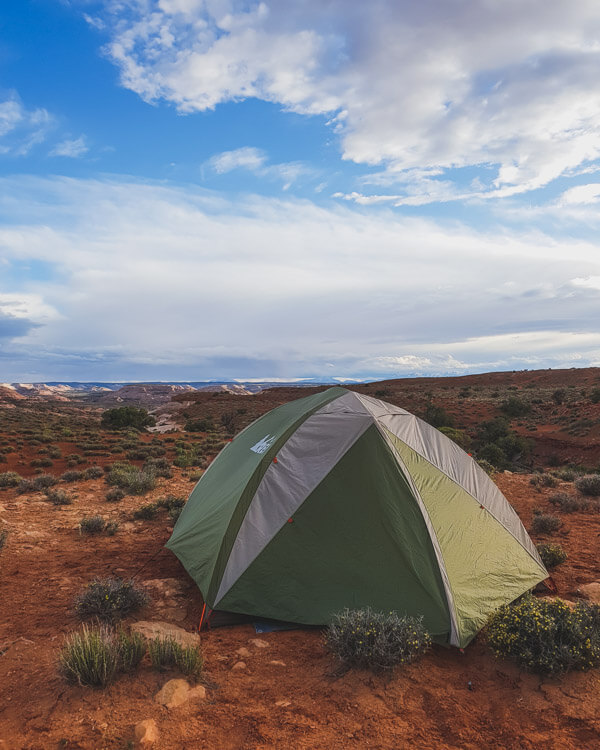A tent surrounded by desert