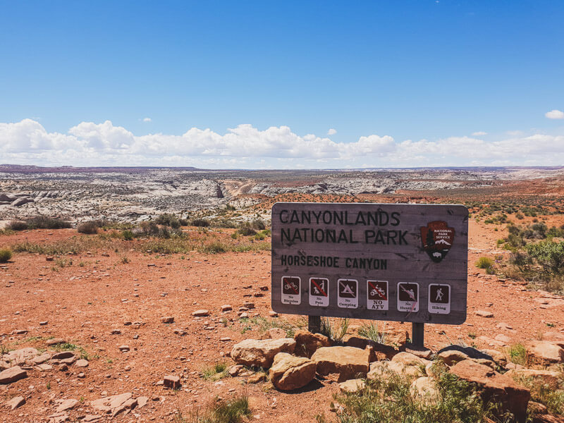 Sign for Horseshoe Canyon in Canyonlands National Park Maze District
